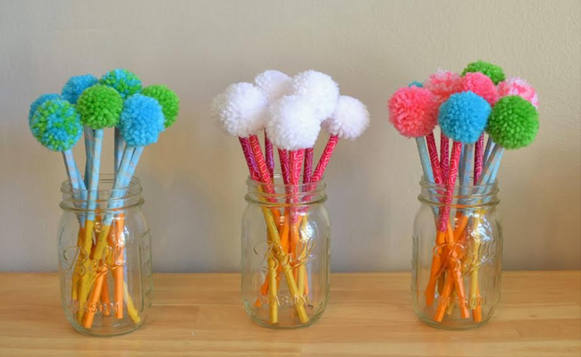DIY Thread Wrapped Pom Pom Pencils
