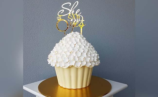 Giant cupcake engagement cake