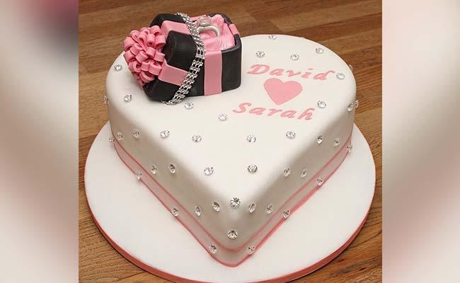 Simple Modern Engagement Cake Idea