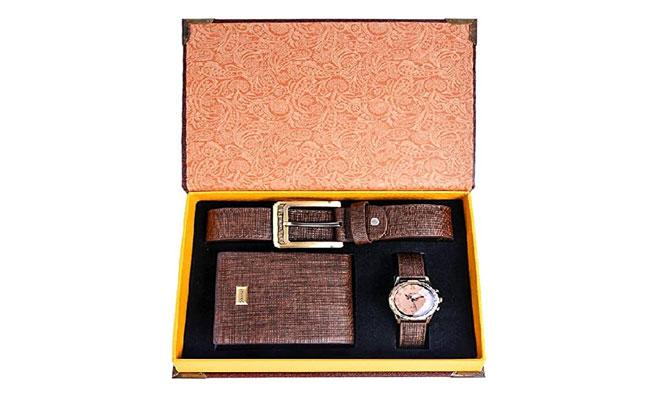 Premium branded wallet, belt, and wristwatch
