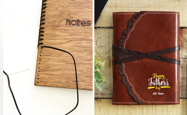 Leather and Wood Covered Notebooks