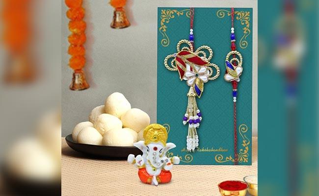 Designer Lumba Rakhi with Sweets