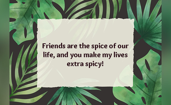 Friends are the spice of our life