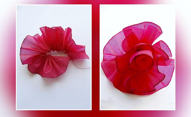 Gathered Ribbon Rose