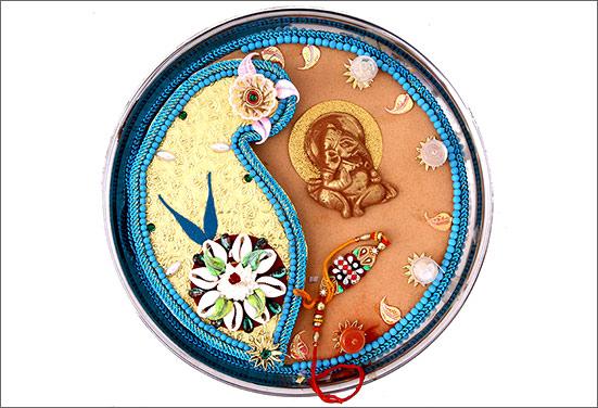 Pista decorated Rakhi thali