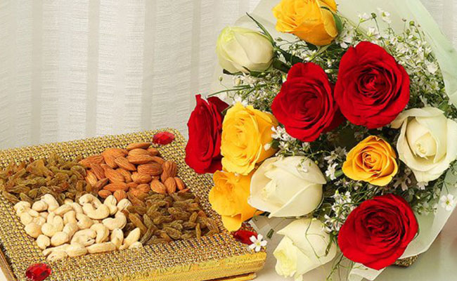 Nuts And Roses Bouquet Combo