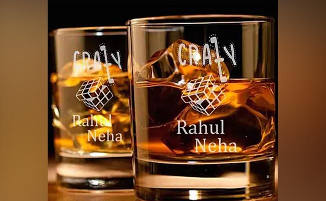 .Engraved Whiskey Glass