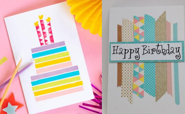 Washi Tape Handmade Birthday card