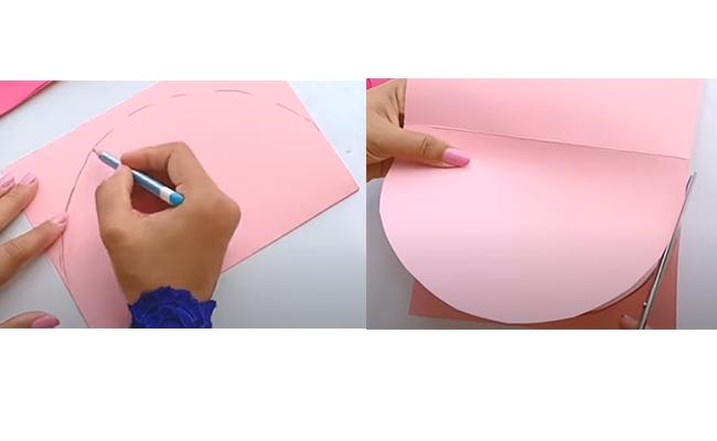 Make a semi-circle on pink sheet
