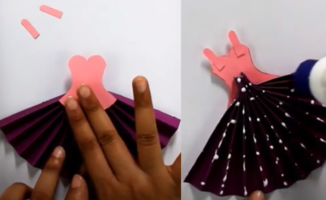 Put glue on the handmade skirt of the lady and blouse