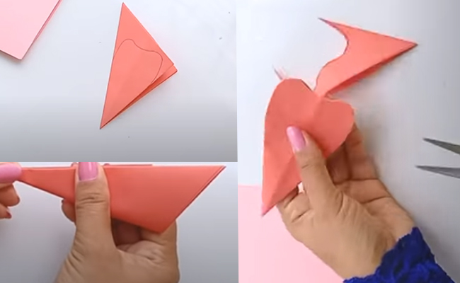Cut out heart shape on pink sheet of 20x20 cm