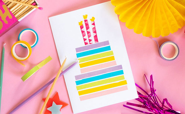 Handmade Mini Washi Tape Birthday Card