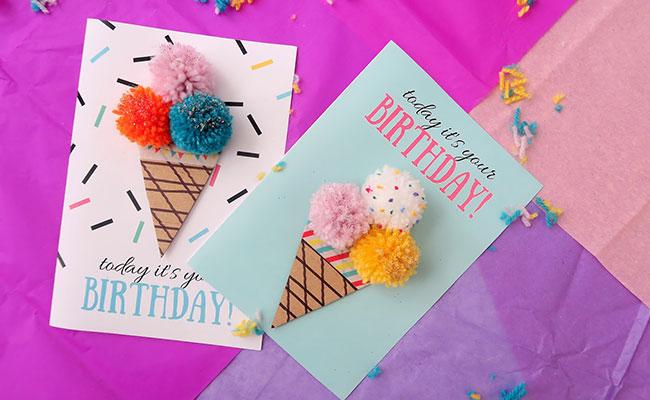 DIY Pom Pom Birthday Card