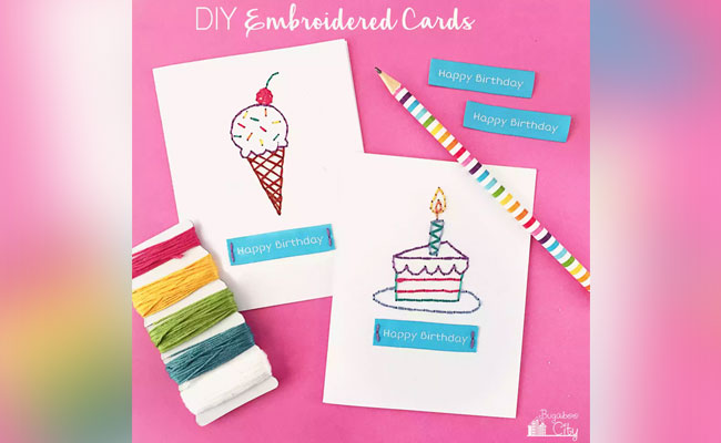 DIY Embroidered Birthday Card