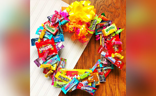 Chocolate and candy wreath