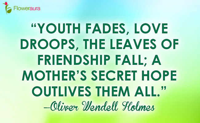Youth fades; love droops; the leaves of friendship fall; A mother's secret hope outlives them all. - Oliver Wendell Holmes