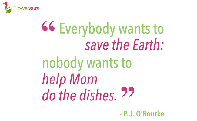 Everybody wants to save the Earth; nobody wants to help Mom do the dishes. - P.J. O'Rourke