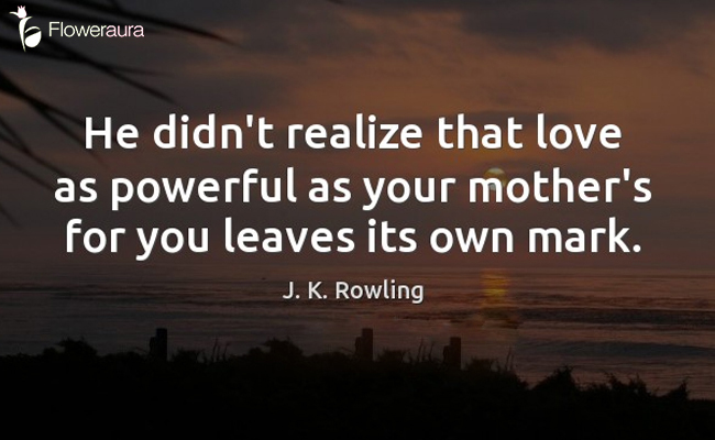 He didn't realize that love as powerful as your mother's for you leaves its own mark. - J.K. Rowling