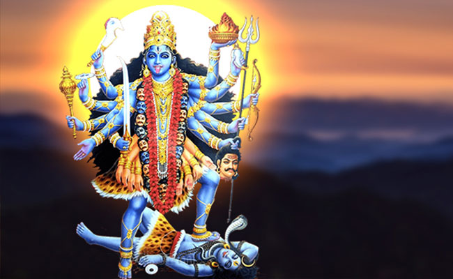 god defeating a demon named Narakasur
