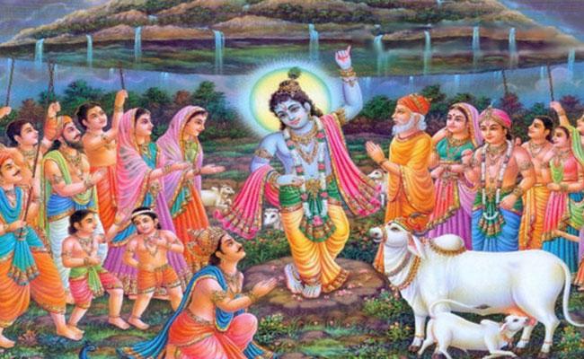 lord krishna, lifting the govardhan mountain