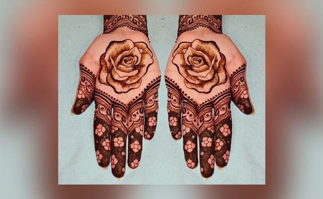 Mid Rose Flower Mehndi Design