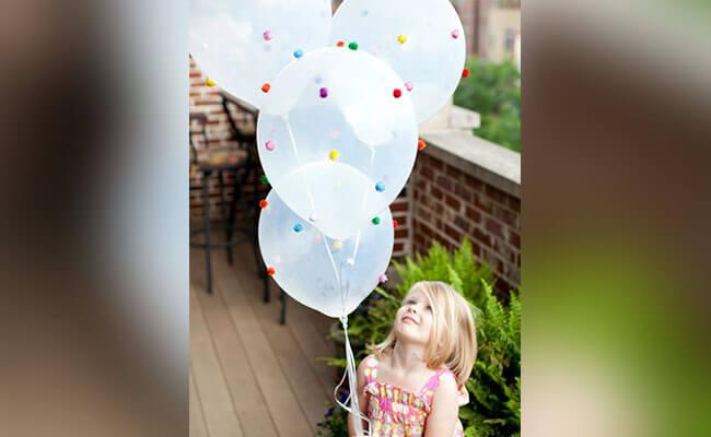 Mini Pom Pom Decorated Balloons