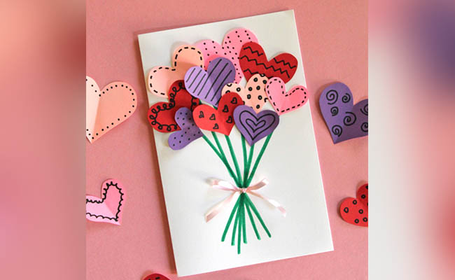 Bouquet Of Hearts Card<