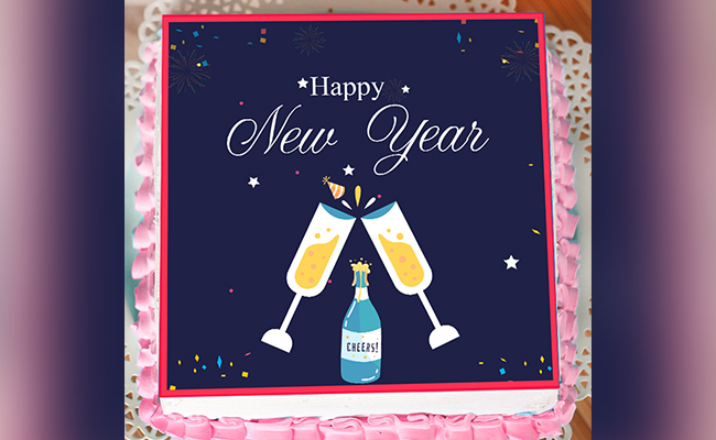 Cheers! New Year Poster Cake