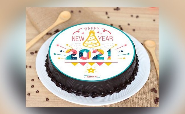 Colourful New Year Poster Cake