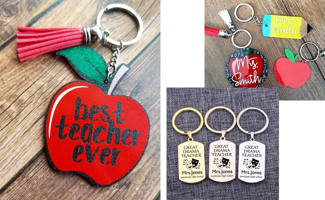 Personalized name keychains for teacher