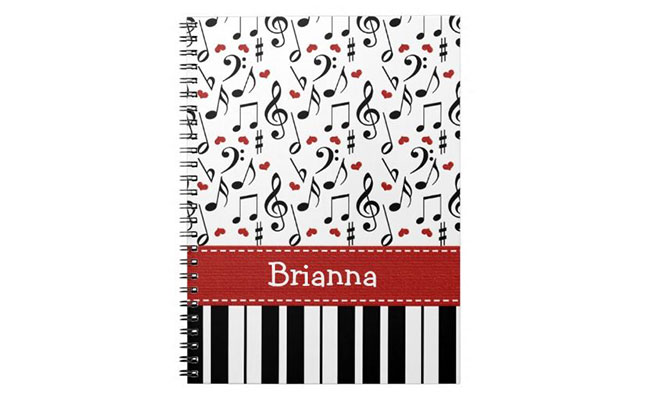 Personalized Music Notes Notebook