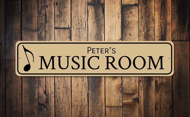 Personalized Music Room Sign Board