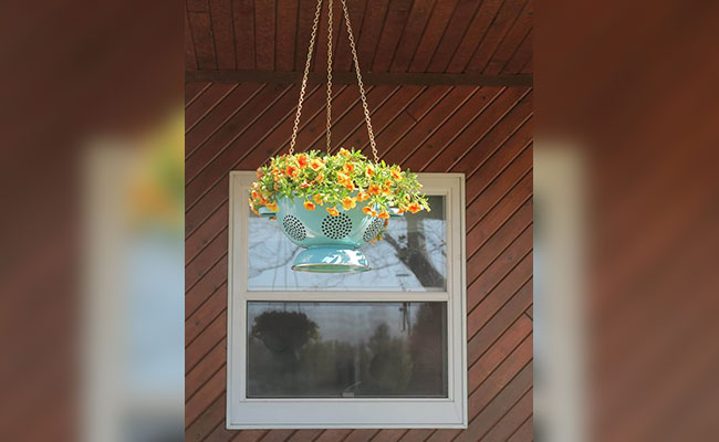 Colander Hanging Flower Basket