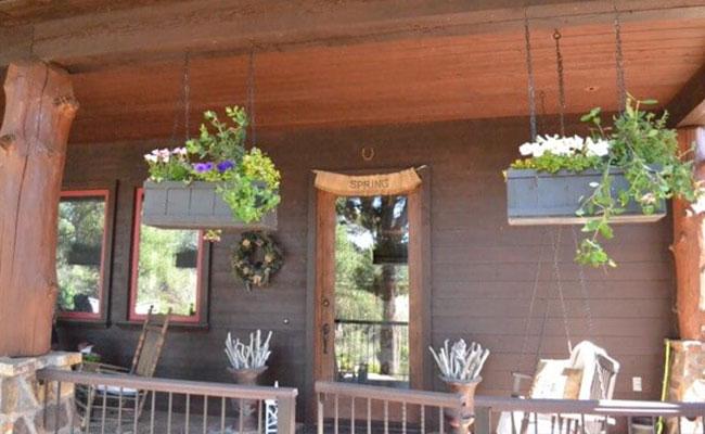Rustic Rectangular Hanging flower Basket