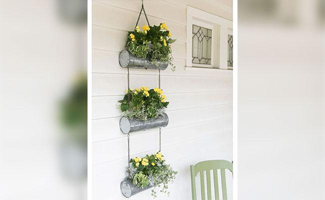 Trio Tin Cylinder Hanging Flower Basket