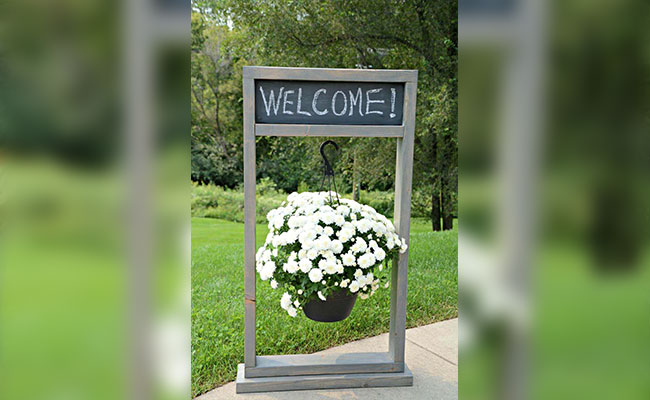 Welcome Stand With Hanging Flower Basket
