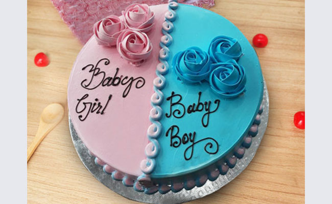 Blue & Pink Flowers Baby Shower Cake