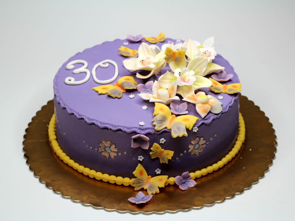 Beautiful Flowers and Butterflies Cake