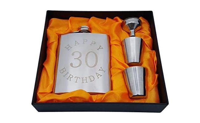 30th Birthday Flask Gift Set