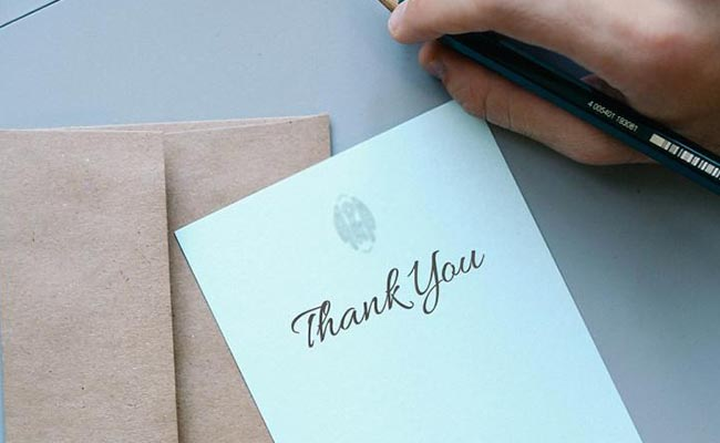 A simple thank you note