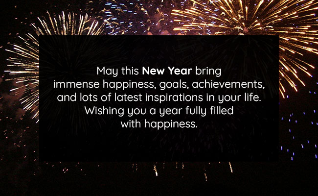 May this New Year bring immense happiness, goals, achievements, and lots of latest inspirations in your life. Wishing you a year fully filled with happiness.