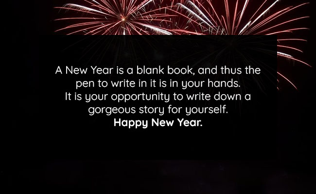 A New Year is a blank book, and thus the pen to write in it is in your hands. It is your opportunity to write down a gorgeous story for yourself. Happy New Year.