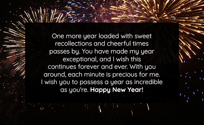 One more year loaded with sweet recollections and cheerful times passes by. You have made my year exceptional, and I wish this continues forever and ever. With you around, each minute is precious for me. I wish you to possess a year as incredible as you're. Happy New Year!