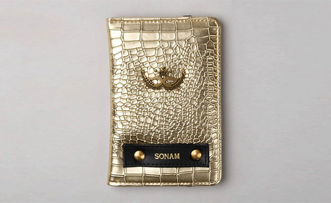 Rough Gold Passport Wallet